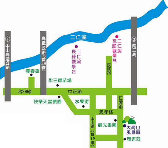大崗山生態園區交通位置